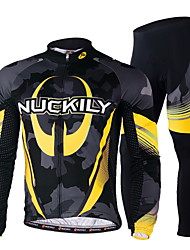 cheap -Nuckily Men's Long Sleeve Cycling Jersey with Tights Winter Fleece Polyester Lycra Yellow Bike Clothing Suit Windproof Breathable Quick Dry Ultraviolet Resistant Reflective Strips Sports Sports