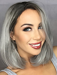 cheap -Synthetic Lace Front Wig Straight Straight Bob Lace Front Wig Ombre Synthetic Hair Women's Middle Part Bob Ombre