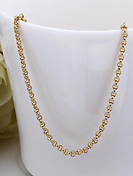 cheap -Women's Chain Necklace Foxtail chain Ladies Dubai 18K Gold Plated Yellow Gold Gold Necklace Jewelry For