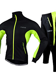 cheap -FJQXZ Men's Cycling Jacket with Pants Bike Jacket / Tracksuit / Clothing Suit Waterproof, Reflective Strips Solid Color Fleece Winter Red / Green / Blue Road Cycling Relaxed Fit Bike Wear / Stretchy