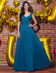 cheap -A-Line Elegant Prom Formal Evening Dress V Neck Sleeveless Ankle Length Georgette with Pleats 2020