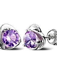 cheap -Women's Crystal Amethyst Stud Earrings Heart Ladies Sterling Silver Crystal Earrings Jewelry Silver For Wedding Party Daily Casual Sports