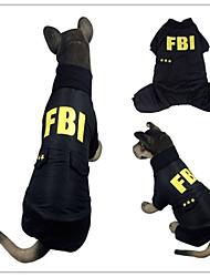 cheap -Dog Coat Police / Military Letter & Number Cosplay Keep Warm Fashion Outdoor Winter Dog Clothes Black Costume Terylene XXL XXXL XXXXL XXXXXL