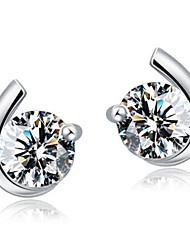 cheap -Women's AAA Cubic Zirconia Stud Earrings Moon Ladies Luxury Sterling Silver Zircon Cubic Zirconia Earrings Jewelry Silver For Wedding Party Daily