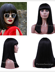 cheap -Human Hair Machine Made Glueless Full Lace Glueless Lace Front Wig Bob Straight bangs style Brazilian Hair Straight Wig 130% 150% 180% Density 6-26 inch with Baby Hair Natural Hairline African / Long