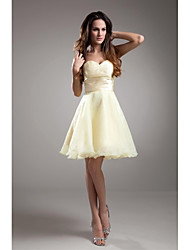 cheap -A-Line Strapless Knee Length Taffeta Bridesmaid Dress with Beading by LAN TING BRIDE®