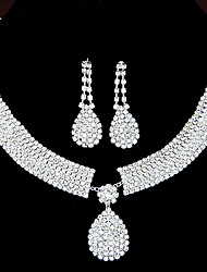 cheap -Women's Clear Synthetic Diamond Jewelry Set Drop Earrings Pendant Necklace Drop Teardrop Ladies Luxury Elegant Bridal Rhinestone Earrings Jewelry Set-Square / Set-Chain / Set-Heart For Wedding Party