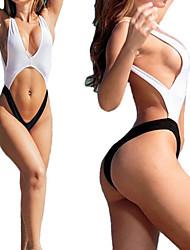 abordables -Femme Uni Licou Blanc Noir Une-pièce Maillots de Bain - Mosaïque M L XL Blanc / Sans Armature / Super sexy