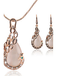 cheap -Women's Cubic Zirconia Jewelry Set Stud Earrings Pendant Necklace Pear Cut Peacock Ladies Asian Party Work Fashion Elegant Rose Gold Cubic Zirconia Earrings Jewelry Rose Gold For Wedding Party