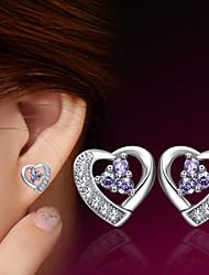 cheap -Women's Stud Earrings Heart Ladies Sterling Silver Silver Earrings Jewelry For Wedding Party Daily Casual Sports