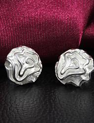 cheap -Women's Stud Earrings Roses Flower Silver Plated Earrings Jewelry Silver For
