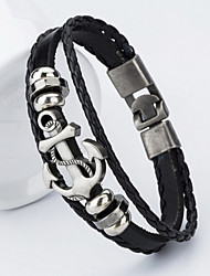 cheap -Men's Leather Bracelet Anchor Ladies Classic Leather Bracelet Jewelry Black / Brown For Christmas Gifts Daily Casual Sports