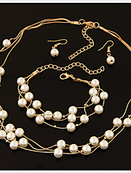 cheap -Women's Jewelry Set Drop Earrings Wrap Bracelet Floating Ladies Elegant Bridal Pearl Imitation Pearl Rhinestone Earrings Jewelry White For Party Wedding Special Occasion / Silver Plated / Necklace