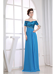 cheap -Sheath / Column Formal Evening Dress V Neck Floor Length Chiffon Charmeuse with Beading Appliques Side Draping 2020