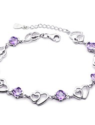 cheap -Women's Chain Bracelet Heart Love Hollow Heart Ladies Sterling Silver Bracelet Jewelry Purple For Wedding / Silver Plated
