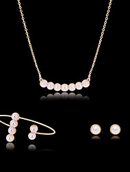 cheap -Pearl Jewelry Set Stud Earrings Pendant Necklace Dainty Ladies Fashion Delicate Party Rose Gold Pearl Imitation Diamond Earrings Jewelry White For Party Special Occasion Anniversary Birthday Gift 1