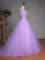 cheap -Princess Wedding Dress Court Train V-neck Lace / Tulle with Beading / Bow / Crystal / Lace