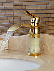 cheap -Brass Bathroom Sink Faucet,Golden Waterfall Ti-PVD Centerset Single Handle One Hole Bath Taps