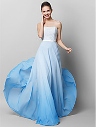 cheap -Sheath / Column Pastel Colors Prom Formal Evening Dress Strapless Sleeveless Floor Length Chiffon Lace with Lace 2020 / Color Gradient