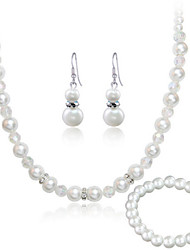 cheap -Women's White Imitation Pearl Necklace Earrings Bracelet Jewelry Set for Wedding Party