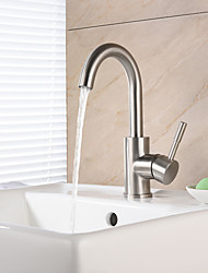 cheap -Bathroom Sink Faucet - Waterfall Brushed Centerset Single Handle One HoleBath Taps