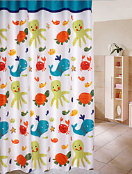 cheap -Four-color Printing Peach Thick Waterproof Mildew Shower Curtain