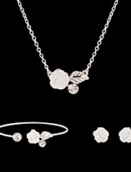 cheap -Synthetic Diamond Jewelry Set Stud Earrings Pendant Necklace Flower Flower Ladies Party Fashion Rhinestone Imitation Diamond Earrings Jewelry White For Party Special Occasion Anniversary Birthday Gift