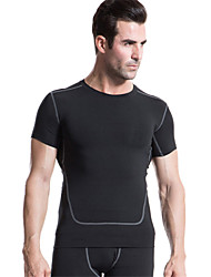 cheap -Men's Crew Neck Compression Shirt Stripes Elastane Fitness Gym Workout Workout Tee / T-shirt Compression Clothing Top Short Sleeve Activewear Quick Dry Soft Compression Lightweight Materials High