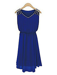 cheap -Women's Blue Black Dress Summer Going out Chiffon Swing Solid Colored V Neck Blue Beaded S M