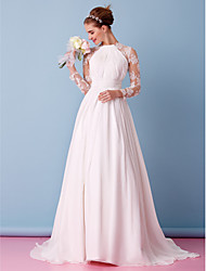 cheap -A-Line Jewel Neck Sweep / Brush Train Chiffon / Sheer Lace Long Sleeve Simple / Boho Little White Dress / See-Through / Illusion Sleeve Wedding Dresses with Lace / Draping / Appliques 2020