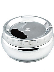 cheap -Stainless Steel Detachable Rotating Lid Cigarette Ashtray Silver Tone Home Decoration