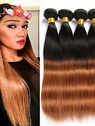 cheap -4 bundles 8 26 brazilian straight virgin hair unprocessed wefts ombre 1b 30 color human hair