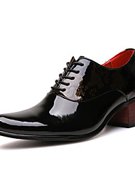 cheap -Men's Novelty Shoes Patent Leather Spring / Fall Oxfords Slip Resistant Black / Blue / Party & Evening / Block Heel / Lace-up / Party & Evening / Comfort Shoes
