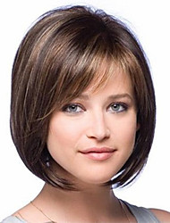 cheap -Synthetic Wig Straight Straight Bob With Bangs Wig Short Brown Synthetic Hair Women's Highlighted / Balayage Hair Side Part Brown