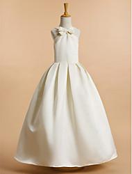 abordables -Trapèze Longueur Cheville Robe de Demoiselle d'Honneur Fille - Satin Sans Manches Col en V avec Noeud(s) / Communion