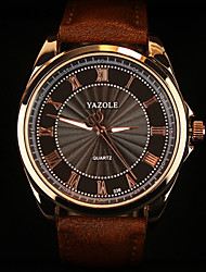 cheap -YAZOLE Men's Wrist Watch Quartz Leather Black / Brown Casual Watch Analog Charm Classic Aristo - Brown Black / White White / Brown One Year Battery Life / SSUO 377