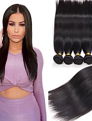 Недорогие -4 Связки Перуанские волосы Прямой Не подвергавшиеся окрашиванию 210 g Человека ткет Волосы 8-26 дюймовый Ткет человеческих волос Расширения человеческих волос / 10A / Прямой силуэт