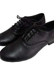 cheap -Men's Latin Shoes / Ballroom Shoes Leather Lace-up Sandal Chunky Heel Customizable Dance Shoes Black / Suede / Practice / EU43