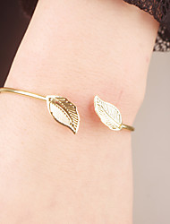 cheap -Women's Bracelet Bangles Leaf Simple Style Open Alloy Bracelet Jewelry Golden For Christmas Gifts Party Daily Casual