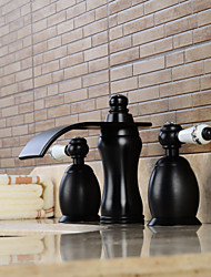 cheap -Contemporary Widespread Waterfall Widespread Ceramic Valve Two Handles Three Holes Oil-rubbed Bronze, Bathroom Sink Faucet