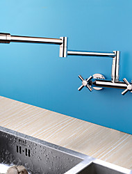 cheap -Contemporary Pot Filler Wall Mounted Handshower Included Widespread Rotatable Ceramic Valve Two Handles Two Holes Chrome, Kitchen faucet