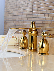 cheap -Bathroom Sink Faucet - Waterfall / Widespread Ti-PVD Widespread Two Handles Three HolesBath Taps