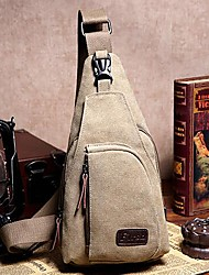 cheap -Unisex Canvas Sling Shoulder Bag Canvas Bag Solid Colored Brown / Army Green / Khaki