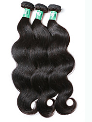 cheap -3 Bundles Peruvian Hair Body Wave Virgin Human Hair Natural Color Hair Weaves / Hair Bulk 8-30 inch Black Human Hair Weaves Human Hair Extensions / 10A
