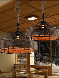 abordables -lustre corde de chanvre lumière ambiante autres concepteurs de tissus métalliques 220-240v blanc chaud / ampoule blanche inclus / e26 / e27