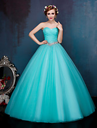 cheap -Ball Gown Sparkle & Shine Formal Evening Dress Sweetheart Neckline Sleeveless Floor Length Tulle with Crystals Sequin Draping 2020