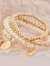 cheap -Women's Bracelet Bangles Ladies Charm Unique Design Vintage Party Imitation Pearl Bracelet Jewelry Gold For Party Gift Valentine / Rhinestone