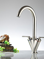 cheap -Kitchen faucet - Two Handles One Hole Nickel Polished Bar / ­Prep Widespread
