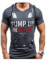 abordables -Tee-shirt Homme, Lettre Imprimé Sports Actif Capuche Mince gris foncé / Manches Courtes / Eté