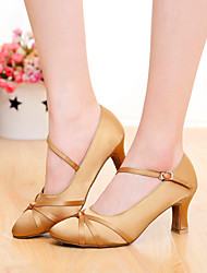 cheap -Women's Dance Shoes Silk Modern Shoes/Character Shoes Buckle / Ribbon Tie Heel Customized Heel Customizable Black / Brown / Orange / Indoor / EU39